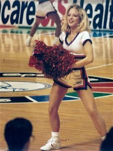 Darlene cheering for the Philadelphia 76ers
